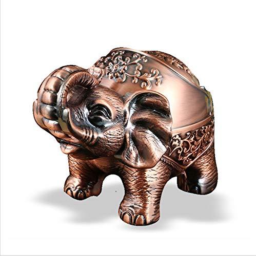 Cenicero vintage resistente al viento con forma de elefante, cenicero con tapa, cenicero de metal portátil con tapa, se puede utilizar para cigarros y cigarrillos ordinarios (estilo)