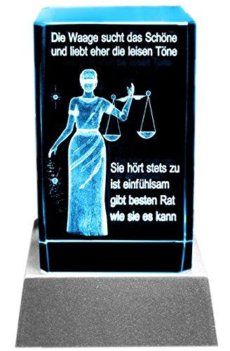 Kaltner Präsente Sfeerlicht LED kaars/kristal glazen blok / 3D-lasergravure sterrenbeeld weegschaal