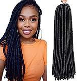 6 Packs/lot Dreadlocks Crochet Braids Soft Faux Locs Crochet Hair Synthetic Braiding Hair Bomba Dreadlocks Faux Locs Soul 18inchGoddess Locs Crochet Hair Braids (18inch, 1B)