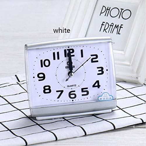 ZHONGQIAN Alarm Clock Modern Square Bedroom Desktop Bed Wake Up Clock Next Student Plastic Silent Cleaning Table Clock A