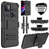 JACKPOT WIRELESS for T-Mobile Revvl 4 Plus Revvl 4+ Cover Shockproof with Temper Glass Kickstand and Belt Clip Hybrid Heavy Duty Full Body Protective Case (Black)