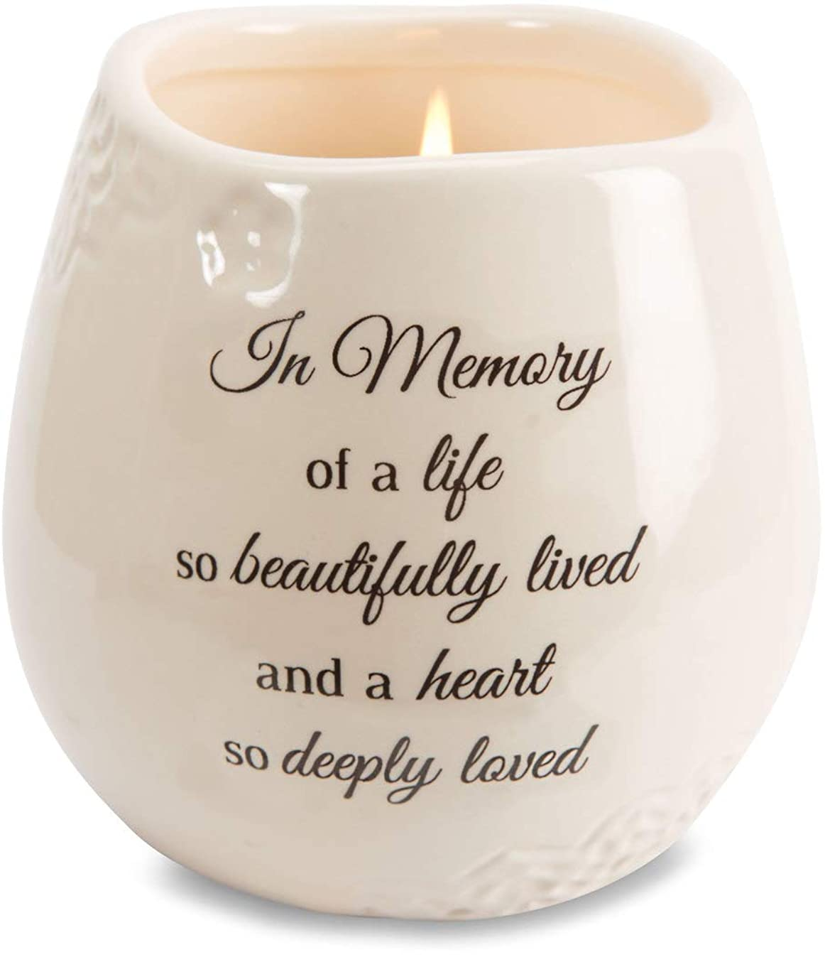 Pavilion Gift Company 19178 in in Memory Beautifully Lived Ceramic Soy Wax Candle