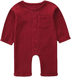 Weixinbuy Newborn Baby Boy's Girl's Long Sleeve Solid Color Romper Bodysuit Overall Clothes Outfits