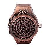 DAUERHAFT Reloj de Anillo de Dedo de 2 Colores, Reloj de Anillo de Cuarzo de Dedo Vintage con Cubierta abatible, Correa de Reloj elástica, Apariencia de Moda, para Hombres(Rojo)