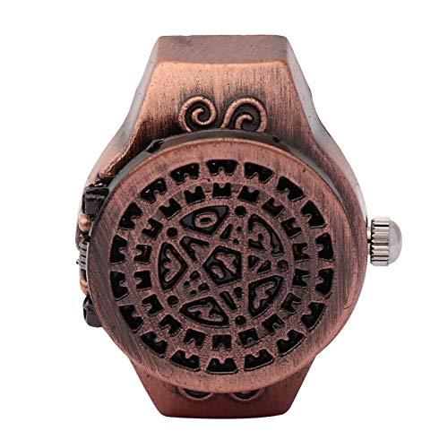 DAUERHAFT Reloj de Anillo de Dedo de 2 Colores, Reloj de Anillo de Cuarzo de Dedo Vintage con Cubierta abatible, Correa de Reloj elástica, Apariencia de Moda, para Hombres