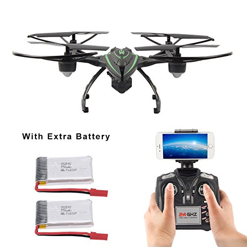 Mattheytoys JXD 510W 2.4G WiFi Real-Time Transmission Drone with HD Camera High Hold Mode RC Quadcopter with 2 Extra Batteries
