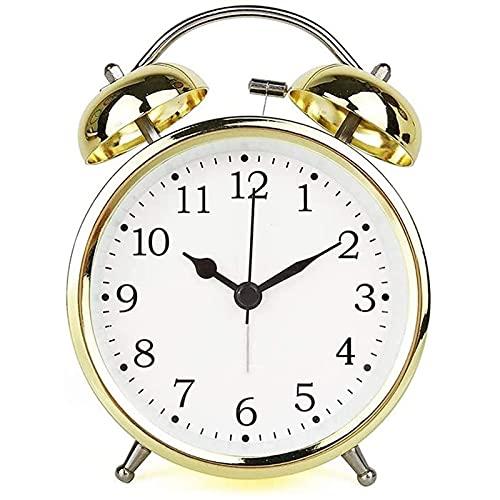 Reloj de Mesa Retro de Metal de 4 Pulgadas pequeño con Reloj de Alarma de luz Nocturna, sin tictac Silent Golden Desktop Battery Reloj de Alarma para la Escuela de Dormitorio para niños