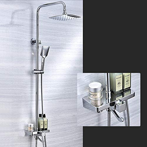 HSIYE,Baño Set,Juego de grifos para Ducha de baño Estante Rianfall Duchas Mezclador de Agua fría Caliente Grifo de baño con Ducha de Mano, Cromo, China