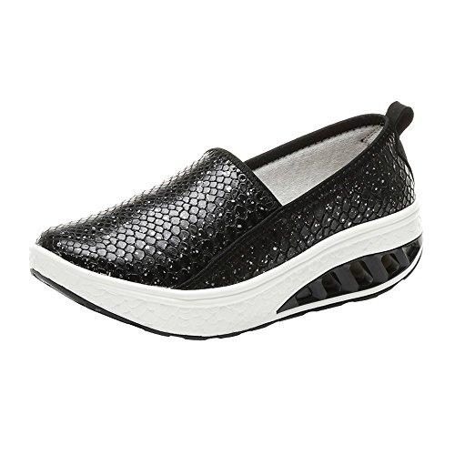 Cramberdy Schuhe Damen Mode Frauen Luftkissen Plattform Schuhe Shake Schuhe Slip Sport Turnschuhe Freizeit Halbschuhe Damen Weiss Sneaker Damen Sommer Schuhe Schwarz Sportschuhe Freizeitschuhe