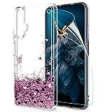 LeYi Hülle Huawei Honor 20 / Nova 5T Glitzer Handyhülle mit HD Folie Schutzfolie,Cover TPU Bumper Silikon Clear Schutzhülle für Hülle Huawei Honor 20 / Huawei Nova 5T Handy Hüllen ZX Rosegold