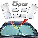 ZoneYan 6PCS Parasole Parabrezza Auto, Parasole per la Parabrezza Anteriore, Parasole Auto Parabrezza Contro i Raggi UV, Pieghevole e Portabile Parasole Parabrezza, Argento Auto Parabrezza Parasole