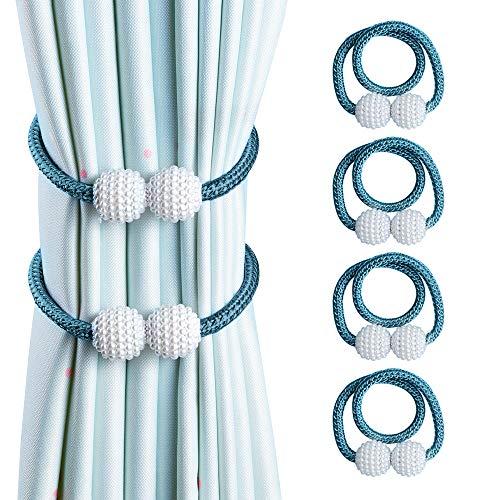 OTHWAY Vorhang Raffhalter Magnetisch, 4 Stück Vorhanghalter Elegante Perlenperle Holdbacks Gardinenklammern mit Starken Magnet (Blau, 4 Stück)