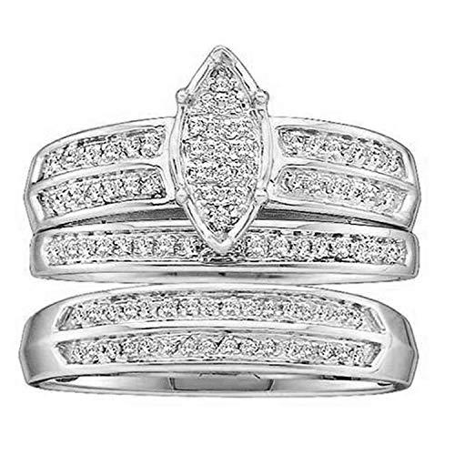 Dazzlingrock Collection Anillo de compromiso de 0,25 quilates (quilates) con diamante blanco redondo para hombre y mujer, conjunto de novias de 1/4 quilates, oro de 14 quilates.
