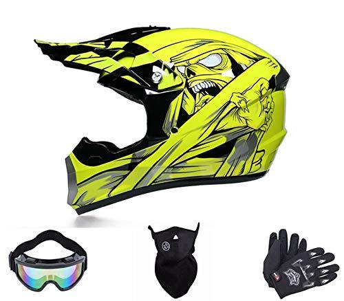 Motocross Helme,Downhill Helme,Motorrad Crosshelme & Endurohelme,Jugend Kinder Offroad Helm, Cross Helm für Kinder und Erwachsene Mit Brille Maskenhandschuhe (M)