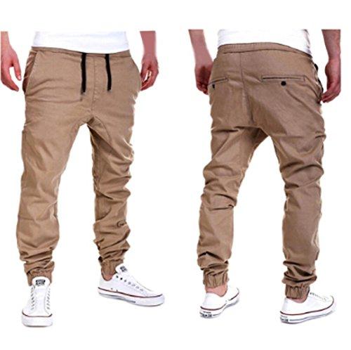 Pantalones de Chándal de Hombres Pantalones de Deporte Pantalones Jogger Casuales para Hombre (Caqui, L)