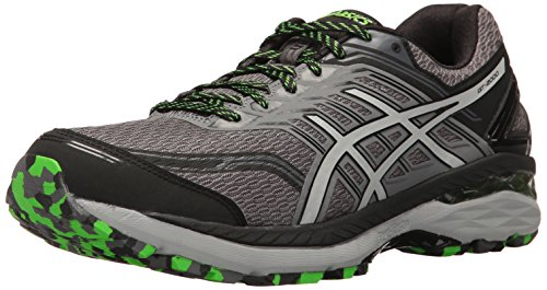 ASICS Men's GT-2000 5 Trail Runner, Carbon/Mid Grey/Green Gecko, 10.5 M US