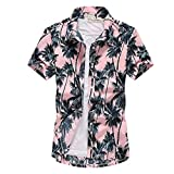 camicia da uomo manica corta hawaiana - con stampa albero di cocco camicia estiva bohemia beach quick dry camicetta casual da uomo abbottonata per feste da festa camicie eleganti unisex, rosa, 4xl
