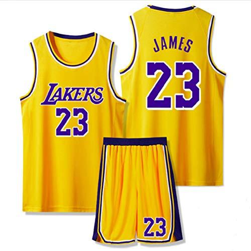 Dybory Kinder Herren Trikots, Lebron James # 23 Los Angeles Lakers Retro Basketball Uniform Kits, Mesh Edition Sommeranzüge Sportweste + Shorts 1 Set,Gelb,6XL