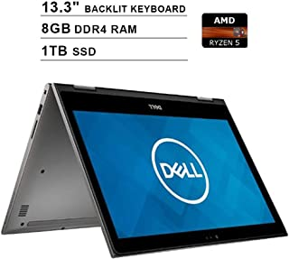 2019 Newest Dell Inspiron 13 7000 2-in-1 13.3 Inch Touchscreen FHD 1080p Laptop (AMD 4-Cores Ryzen 5 2500U up to 3.6 GHz, 8GB DDR4 RAM, 1TB SSD, AMD Radeon Vega 8, Backlit Keyboard, Windows 10)