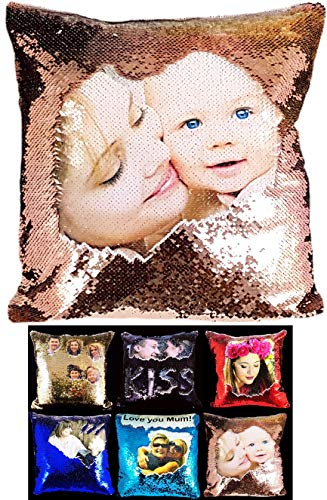 Ultimate-Line Personalised Sequin Cushion Cover Magic Reveal Printed Photo Gift Custom Made 16'' COVER ONLY (CHAMPAGNE/WHITE)