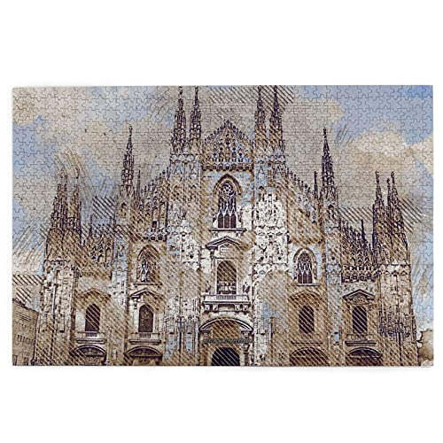 1000 Pieces Art Picture Wooden Puzzle Milan Cathedral Duomo Di Milano Milan Lombardy Italy Puzzles for Adults Teens