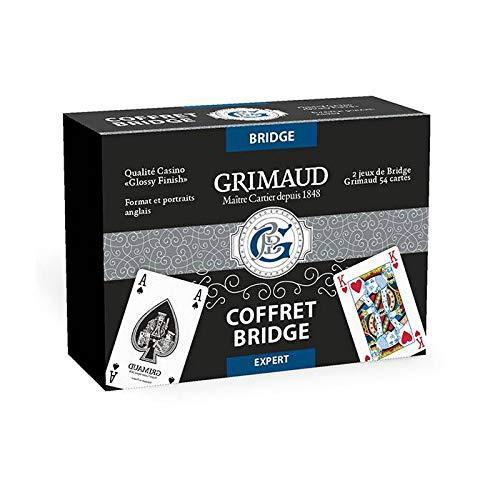 professionnel comparateur Grimaud Expert-Two decks avec 54 cartes bridge, boîte en cuir noir, 130007170 choix