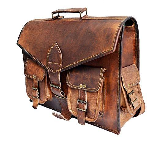 41 cm hecha a mano Marron Bolso de cuero del mensajero para portátiles cada día Bolso de hombro cartera Convertible mochila bolsa de cuerpo cruzado maletín para college office para hombre