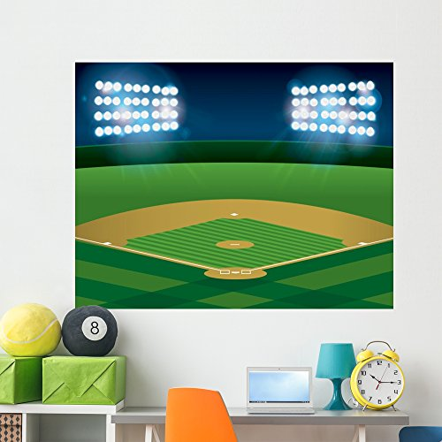 Wallmonkeys Baseball Softball Field Lit Wall Mural Peel and Stick Graphic (60 in W x 47 in H) WM273346