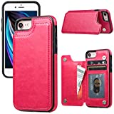 JOYAKI iPhone SE 2020 Case, iPhone 8 Wallet Case Leather [Card Holder] Magnetic Closure Stand Flip Cover Shockproof Protection Case Compatible with iPhone SE2020/8/7 (4.7')(Deeppink)