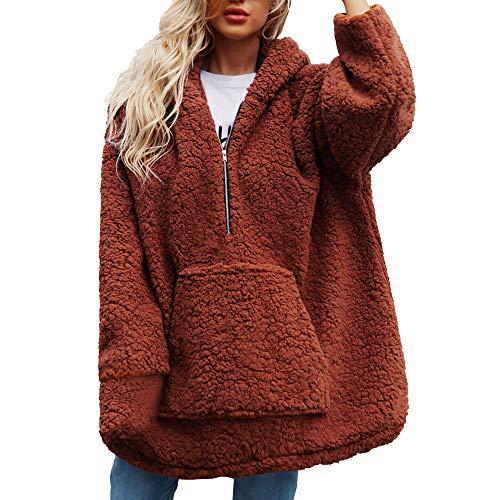 MIRRAY Damen Warmer künstlicher Wollmantel mit Kapuze Reißverschluss Sweatshirt Winter Parka Pockets Oberbekleidung