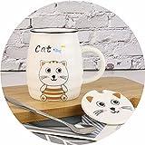LAIDEPA Tazza in Ceramica Bambini Ceramica Uso Domestico Tazza di Latte del Fumetto  in Movimento   Tazza Riutilizzabile per caffè O tè   Portatile,B