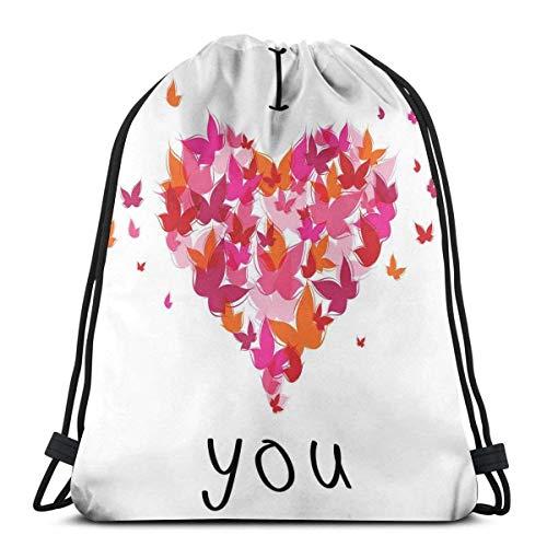 JHUIK Drawstring Bag Backpack,Gedruckte Kordelzug Rucksäcke Taschen, stilvolle Herzfigur gefüllt mit Schmetterlingen Soul Mate Real True Deep My Dear Valentines, verstellbare Schnurverschluss