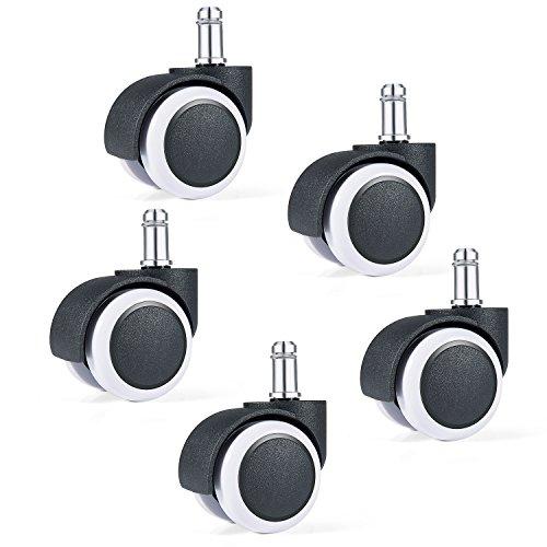Diealles Ruedas Silla Oficina, 5X Ruedas para Sillas de Oficina para Suelos Duros,11mm/50mm