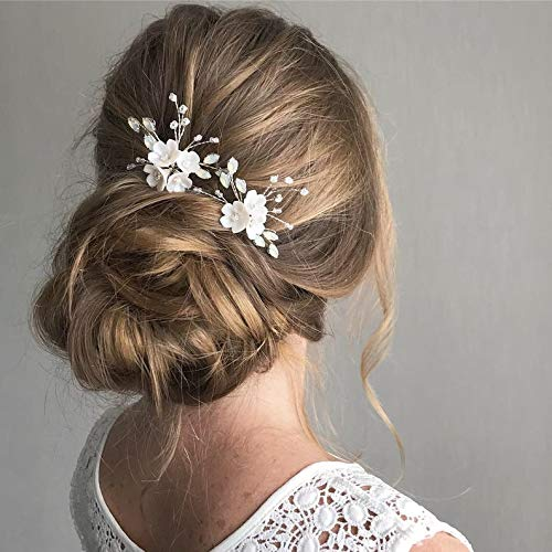 Fairvir Brautschmuck Hochzeit Haarnadeln Blume Silber Strass Braut Perle Haarnadel Haarschmuck für Frauen und Mädchen (2 Stück)