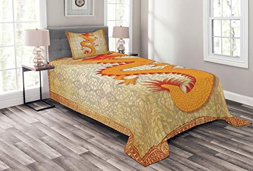 ABAKUHAUS Drachen Tagesdecke Set, Chinese Folk-Elemente, Set mit Kissenbezug Mit Digitaldruck, für Einselbetten 170 x 220 cm, Orange Vermilion Apricot