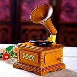 DealMux Music Box Simulazione Giradischi Decorazioni per la casa vintage Classico quadrato in legno...