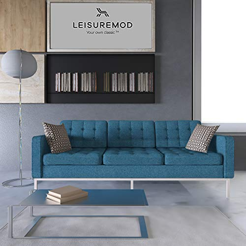 LeisureMod Florence Style Mid Century Modern Tufted Sofa...