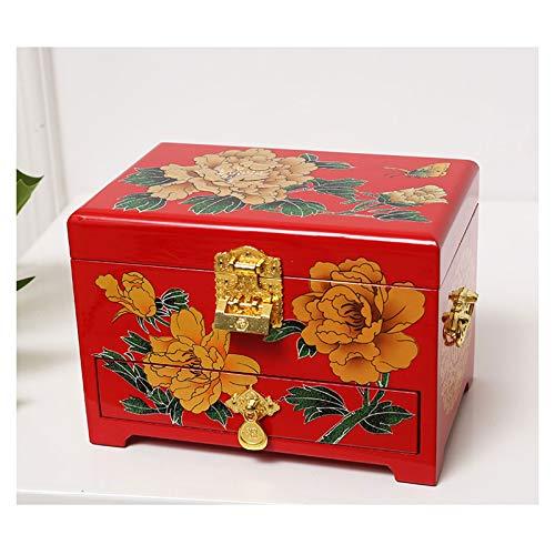 Titular de collar Joyería antigua caja de joyería de madera orientales Caja de almacenamiento caja de laca roja con Espejo de pintado a mano regalo for la familia Amigos Organizador de joyas