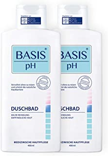 BASIS pH Set de gel de ducha, pH neutro, sin jabón y sin colorantes, paquete de 2 geles de ducha unisex (2 x 400 ml)