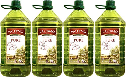 Palermo ピュア オリーブオイル【お得に箱買い=20リットル】5L x 4本 ペットボトル【高温加熱料理向き】Palermo Pure Olive Oil 5L x 4pcs = 20L