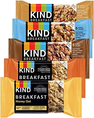 Kind Breakfast Bars Variety 5 Flavors, Dark Chocolate, Blueberry Almond, Honey Oat, Peanut Butter, Almond Butter. 12 Pack -Total of 24 Bars. In Sanisco Packaging.