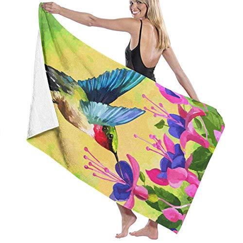 Colibrí Fucsia Take Flower Miel Toallas de Playa de Microfibra Toallas de Piscina de SPA súper absorbentes de Secado rápido para Nadar al Aire Libre
