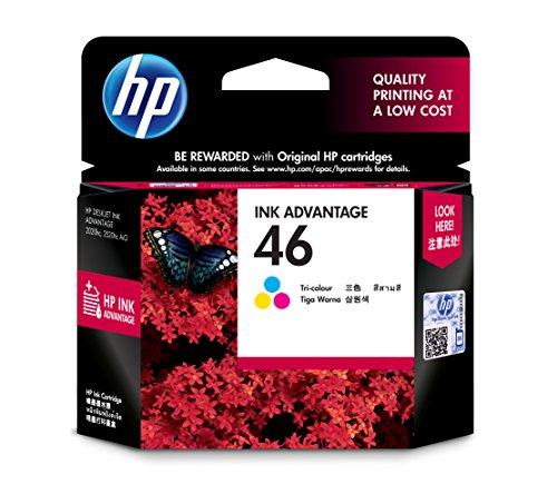 HP 46 - Cartucho de tinta para impresoras (Cian, Magenta, Amarillo, 750 páginas, HP Deskjet Ink Advantage 2020hc, 2520hc)