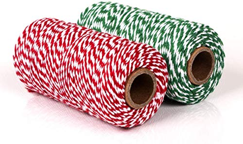 YIQI 200 Metri Cotone Artigianale Spago Natalizio, 2MM Filo Bicolore di Decorativo Spago, Spago Filo di Cotone Decorazione per Natale Confezionamento Regalo