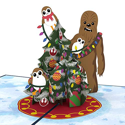 Lovepop Star Wars Chewie & Porgs Christmas Pop Up Card - 3D Cards, Christmas Pop Up Cards, Star Wars Christmas Card, Holiday Pop Up Card, Christmas Card for Kids, Holiday Greeting Card