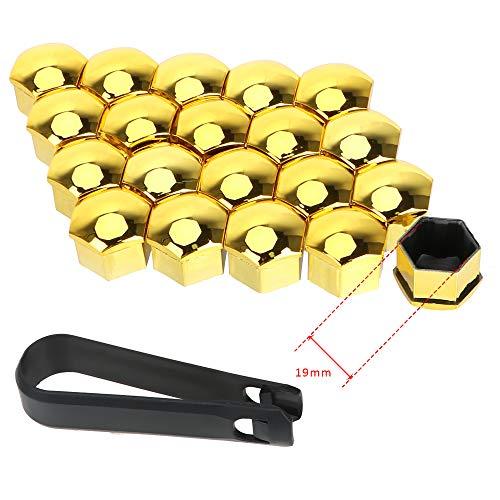 Auto Hub Screw Cover 20 Stück 17mm / 19mm Schutzabdeckungen Kappen Außendekoration Auto Radmutter Kappen Auto Trim Reifenmutter Bolzen (Gold 19mm)