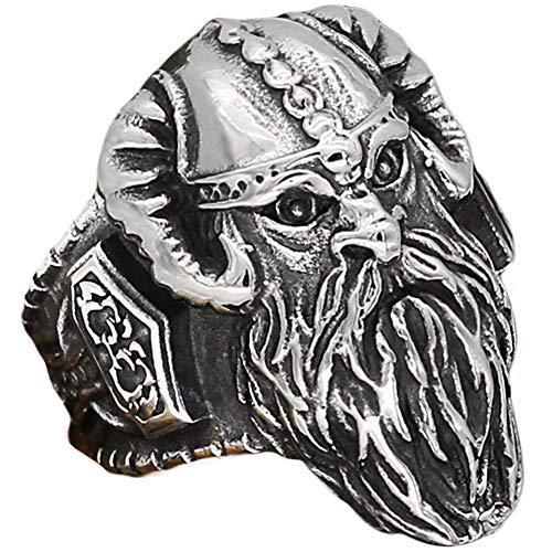 WDBAYXH Nordic Viking Vintage Odin Thor's Hammer Mjolnir Amuleto Gioielli Anelli, Anelli Fatti a Mano in Acciaio Inossidabile Punk Cool Band Biker, Gioielli Scandinavi Pagani Celtici,12