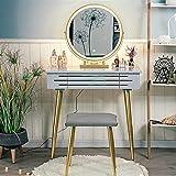 zxb-shop Schminktisch Vanity Table Set mit 3 Modus-Screen Einstellbare beleuchtetem Spiegel und Cushioned Hocker Gleitschublade Einfache Montage Frisiertisch (Color : Gray)