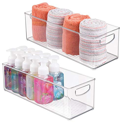 mDesign Storage Bins with Built-in Handles for Organizing Hand Soaps, Body Wash, Shampoos, Lotion, Conditioners, Hand Towels, Hair Accessories, Body Spray, Mouthwash - 16