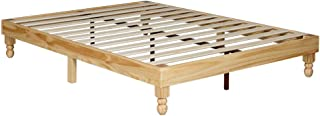 MUSEHOMEINC 12 Inch Wood Bed Frame Elegant Style Eliminates The Need for a Boxspring,Natural Finish,Queen